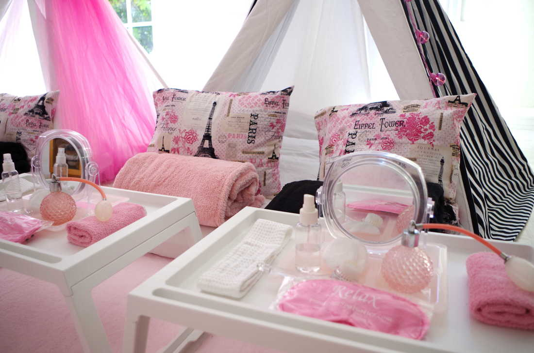 Party Package starts at $425 for 4 girls (ages 7-15). Overnight teepee tent rental can be add it to this party package (for additional charge). & GIRLS PAJAMA TENT PARTIES - Francesca Spa Parties
